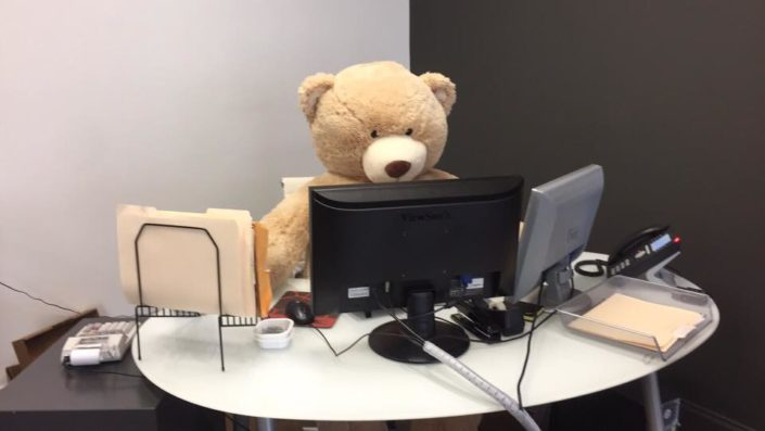 When a life size bear is delivered to you office, naturally they need a desk.