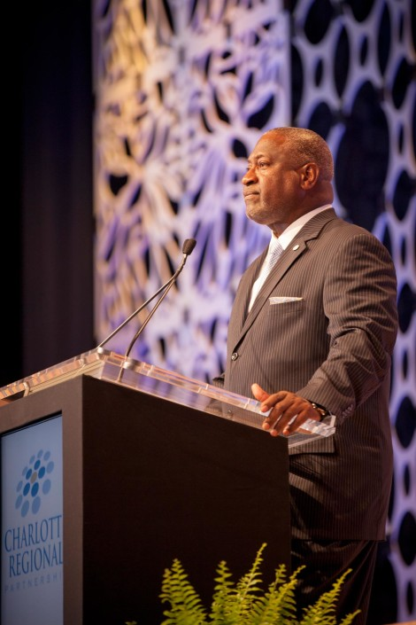 A custom backdrop provided an appealing stage set at an annual meeting and awards ceremony for Charlotte Regional Partnership