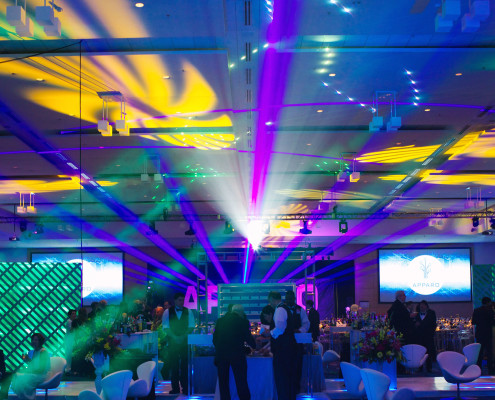 For this annual nonprofit gala we transformed a ballroom into a high tech event space through high beam lasers, sleek furniture, futuristic centerpieces and entertainment acts.