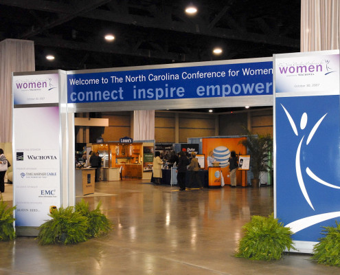 North Carolina Governor's Conference for Women trade show entrance.