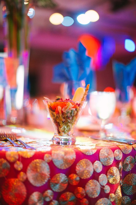 Vibrant colors used to create a Bollywood theme.