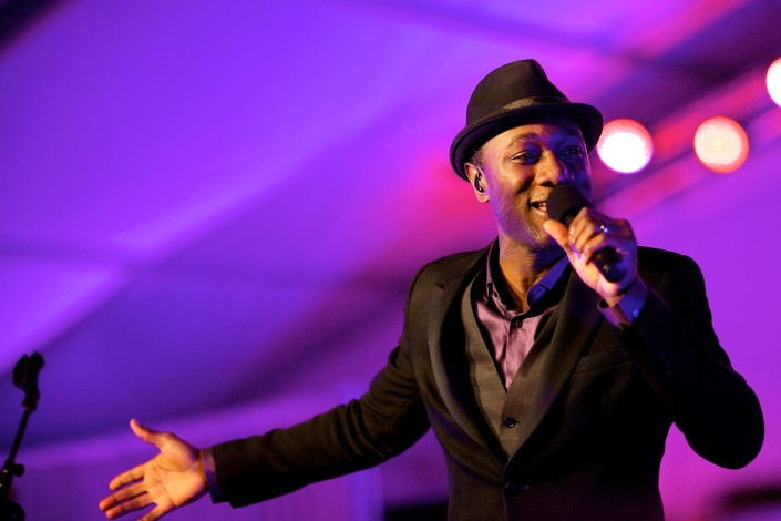 Aloe Blacc performs for a private event in Charlotte, North Carolina.