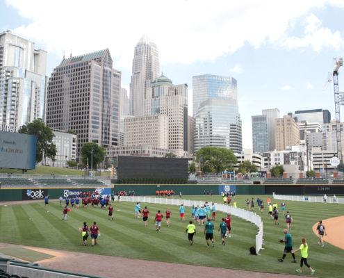 A celebrity kickball tournament held at the BB&T Ballpark.