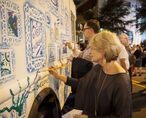 An interactive mobile art truck brought out the guests' creative sides.