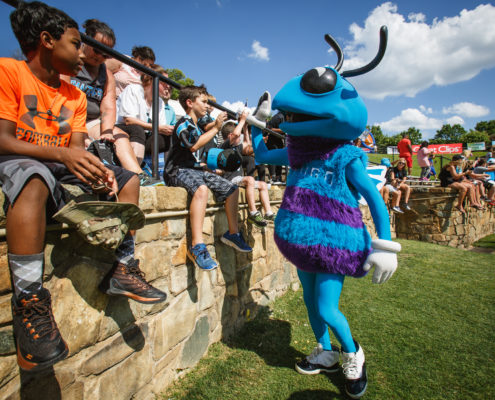 Hugo, the Charlotte Hornets mascot, entertained attendees during a celebrity kickball tournament.