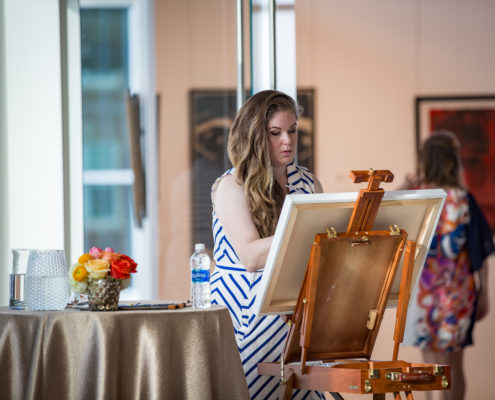 To show the artistic talent at Wofford University, current students performed their work live for guests to enjoy at a grand opening.