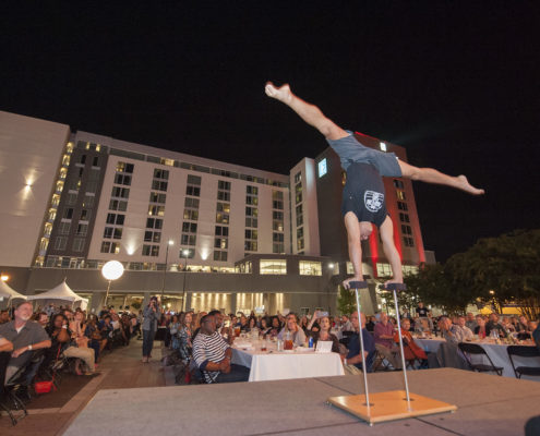 This unique acrobatic act wowed guests at an annual community feast.