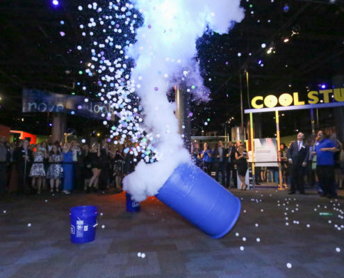 A ping pong ball explosion was a real crowd pleaser.